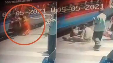 RPF Constable Satish Saves Woman From Slipping Into the Gap Between the Platform and the Train at Tirupati Railway Station, Watch Video