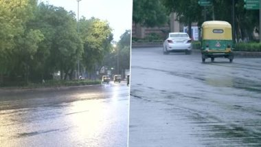 Delhi Rains: National Capital Receives Brief Spell of Light Rainfall During Morning Hours, Temperature Dips (See Pics)