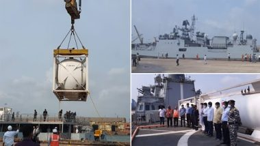 INS Talwar Reaches Mangalore Port in Karnataka With 54 Tonnes of Liquid Oxygen From Bahrain