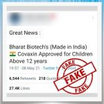 Covaxin, Bharat Biotech's COVID-19 Vaccine, Has Been Approved for Children Above 12 Years? PIB Fact Check Reveals Truth Behind Fake Tweet