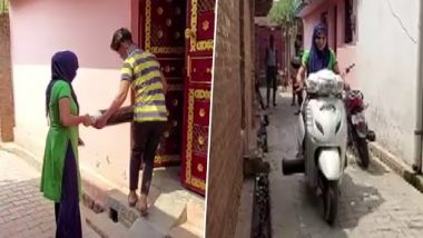 Uttar Pradesh: Arshi from Shahjahanpur Wins Hearts for Delivering Oxygen Cylinders on Her Scooty Amid COVID-19 Crisis (See Pics)