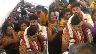 Wedding On A Plane! Madurai Couple Rents SpiceJet Flight for 2 Hours To Escape COVID-19 Lockdown, Ties Knot Onboard Amid Pandemic (Watch Video)