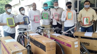 Indian Youth Congress Sends Bicycles to Prime Minister Narendra Modi, Home Minister Amit Shah Over Rise in Fuel Price