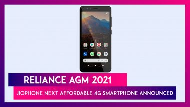 Reliance AGM 2021: Jio Announces JioPhone Next 4G Smartphone, To Be Available From September 10, 2021