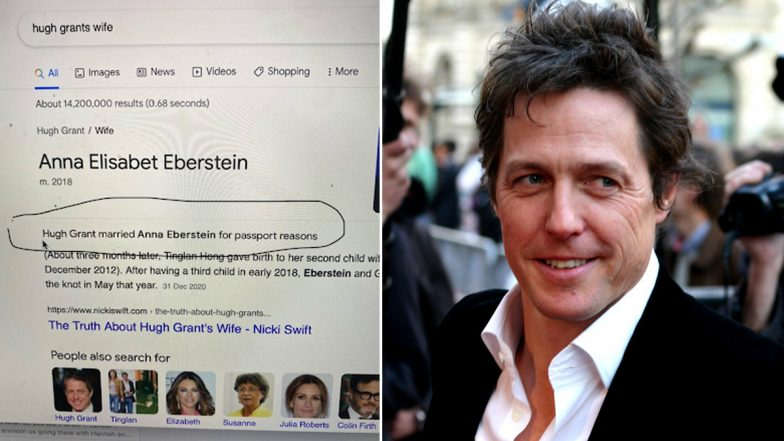 'Hugh Grants Wife' Google Search Result Shows the Actor Married Anna Eberstein for Passport Reasons, Notting Hill Star Says 'Love' Was the Reason