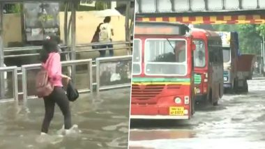 Mumbai Rains: Waterlogging at Kings Circle in Mumbai's Matunga Due to Heavy Rainfall (Watch Video)