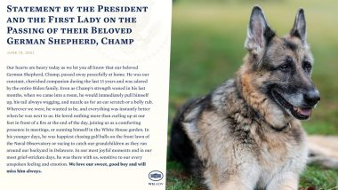 US President Joe Biden And First Lady Mourn Death of Family Dog, Champ, Share Heartbreaking Post on Twitter