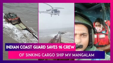 Indian Coast Guard Operation To Rescue Crew Of Sinking Barge MV Mangalam; 16 Crew Members Rescued