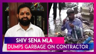 Shiv Sena MLA Dilip Lande Dumps Garbage On Contractor In Charge Of Cleaning Drains After Waterlogging Incident In Mumbai