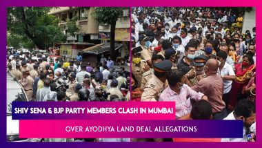 Shiv Sena And BJP Party Members Clash In Mumbai Over Ayodhya Land Deal Allegations