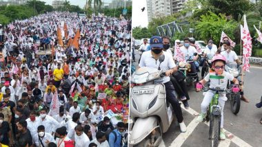 Navi Mumbai Airport Naming Row: Thousands of People From Thane, Raigad, Palghar Join Massive Protest Over Naming Upcoming Airport