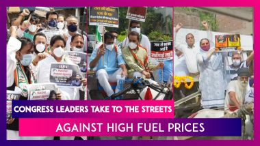Congress Leaders Take To The Streets Against High Fuel Prices, Demand Rollback Of Excise Duty Hike On Petrol, Diesel