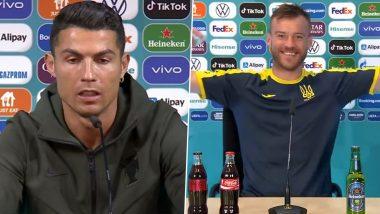 Andriy Yarmolenko Pokes Fun At Cristiano Ronaldo By Showing Off Coca-Cola and Heineken Bottles (Watch Video)