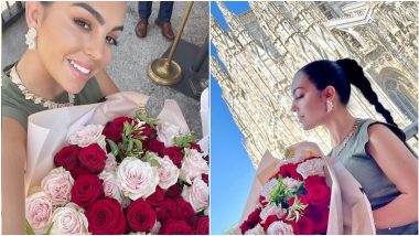 Cristiano Ronaldo's Gorgeous Girlfriend Georgina Rodriguez Flaunts a Bunch of Red and White Roses, Enjoying a Day Out in Italy (View Pics)
