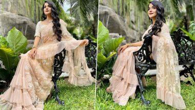 Shaurya Aur Anokhi Ki Kahani Actress Debattama Saha Looks Like a Modern Princess in a Pretty Ruffle Saree (View Photos)
