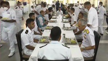Rajnath Singh Has 'Bada Khana' With Indian Navy Officers and Sailors in Kochi, See Pics