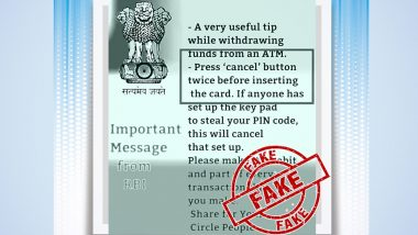 PIN Theft Can Be Prevented by Pressing 'Cancel' Twice on ATM Before Transaction? PIB Debunks Viral Post Falsely Attributed to RBI, Reveals Truth