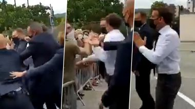 French President Emmanuel Macron Slapped On Regional Tour Of Southeast France, Two Detained (Watch Video)