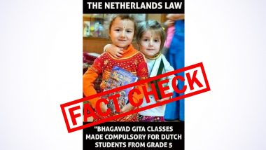 Bhagavad Gita Made Complusory in Schools in Netherlands From Class 5? Old Image of Two Young Girls Holding Hindu Scripture Goes Viral With Fake Claim