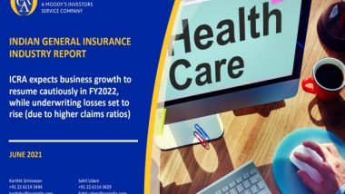 Business News | General Insurance Industry to Grow at 7 to 9 Pc in FY22: ICRA