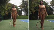 Tennis Apparel, What? Kim Kardashian Dons Sexy Nude Bikini and Is Ready to Serve With Racquet and Ball in Hand (View Hot Pics)