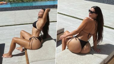 Kim Kardashian Soaks Up the Sun in Sexy Black String Bikini; Expresses Love for Fans as She Hits 250 Million on Instagram