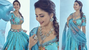 Madhuri Dixit Looks Like a Royal Dream in This Sky Blue Lehenga That Costs Rs 72K (View Pics)