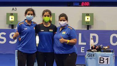 ISSF Shooting World Cup 2021: Bronze Medal for Manu Bhaker, Yashaswini Singh Deswal and Rahi Sarnobat in Women's 10m Air Pistol Team Event in Croatia