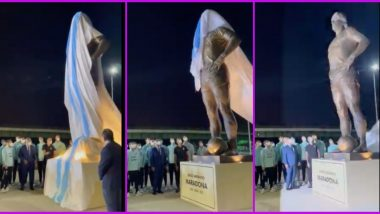 Lionel Messi Along With Argentina Football Team Unveil Diego Maradona's Statue (Watch Video)