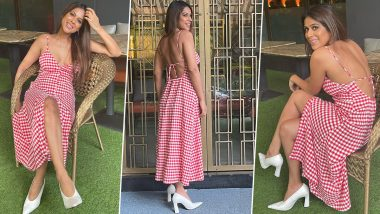 """Nia Sharma Looks Stylish in Red and White Checkered Dress; Says 'This is my CANDY CANE Look!"""" (View Photos)"""