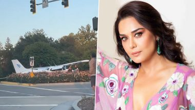 Preity Zinta Shares 'Once in a Lifetime' Experience of Seeing a Plane Landing on the Road in US (Watch Video)