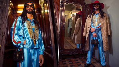 Ranveer Singh Pulls Off a Quirky Alessandro Michele in This Blue-Gold Satiny Ensemble!