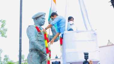 Statue of Galwan Valley Martyr Colonel Santosh Babu Unveiled by KT Rama Rao in Telangana's Suryapet Town