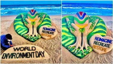 World Environment Day 2021: Artist Sudarsan Pattnaik Marks Vishwa Paryavaran Diwas With WED-Themed Sand Art On Puri Beach