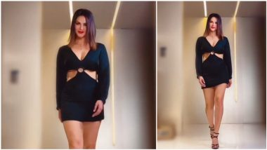 Sunny Leone Catwalks in Gorgeous Cutout LBD With Plunging Neckline and Bold Red Lips (Watch Video)
