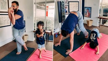 Taimur Ali Khan Follows Daddy Saif Ali Khan's Asana Poses on International Yoga Day 2021 and It's Adorable!