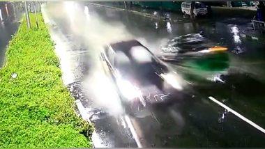 Hyderabad Horror: One Killed As Over Speeding Luxury Car Rams Into Autorickshaw Near Inorbit Mall in Cyberabad, 3 Held (Watch Video)