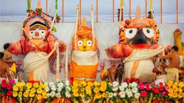 Snana Yatra 2021: View Images & Videos of Lord Jagannath, Lord Balabhadra and Devi Subhadra on Debasnana Purnima From Shree Jagannath Temple in Puri