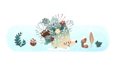 Winter Season 2021 Google Doodle: Welcome First Day of Winter in Southern Hemisphere With This Adorable Hedgehog Walking on Snow!