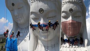 Japan: Giant Buddhist Goddess Statue Covered With Massive Custom-Made 'Face Mask' Weighing 77 LBS To Pray For The End Of COVID-19 Pandemic (Video)