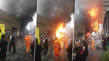 Massive Fire Breaks Out Near London's Elephant and Castle Rail Station (Watch Video)