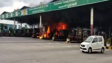 India News | Lorry, 2 Booths Burn to Ashes in Toll Plaza Fire at Andhra's Guntur