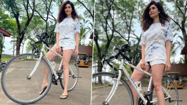 Karishma Tanna Looks Smart and Sexy as She Strikes a Pose on Her Bicycle (See Pics)