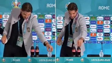 Manuel Locatelli Replicates Cristiano Ronaldo's 'Snub Coca-Cola' Action During Euro 2020 Conference, Promotes Water Over Soft Drink! (Watch Video)