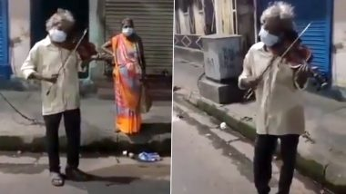 Elderly Man Plays Tunes of Iconic Bollywood Songs on Violin, Viral Video Claiming to Be From Kolkata Wins Hearts (Watch Video)