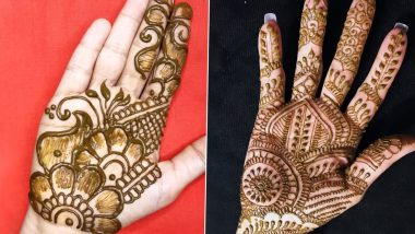 Quick 5-Minute Mehndi Designs for Vat Savitri 2021 Vrat Puja: Simple Indian, Rajasthani, Arabic and other Latest Mehendi Patterns to Apply on Hands Easily at Home (Watch Videos)