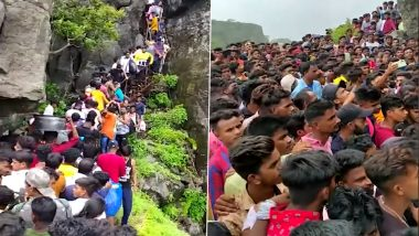 Asheri Fort in Palghar Sees Overcrowding of Tourists and Trekkers, Over 250 Booked (Watch Video)
