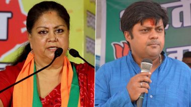 Rajasthan: Missing Posters of Former Chief Minister Vasundhara Raje, Son Dushyant Appear in Jhalawad