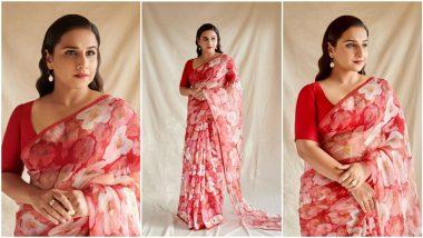 Yo or Hell No? Vidya Balan's Red Printed Saree By Raw Mango