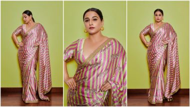 Vidya Balan Spins Neon Magic With Her Traditional Six Yards for 'Sherni' Promotions